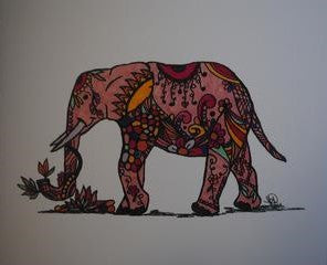 Handmade Zenming Blank Greeting Card - Elephant - Kimberly Fagan
