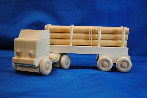 18 Wheel Log Truck w/ 6 logs - Millers Wood & Fabric Crafts