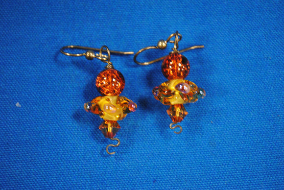 Sterling Silver Earrings - Amber - Joy Beadz Glass Jewelry