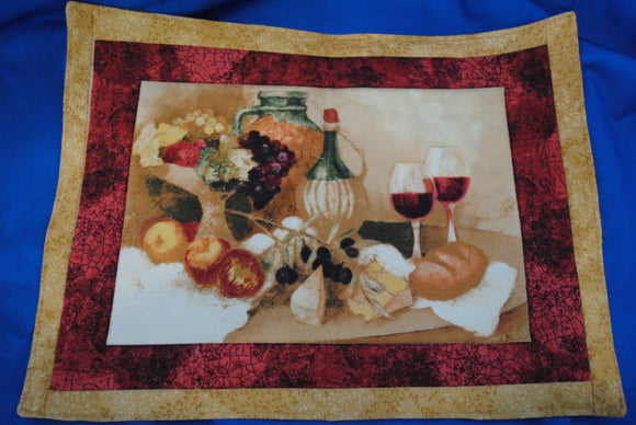 Set of Cotton Quilted Placemats - Wine Theme - Millers Wood & Fabric Crafts