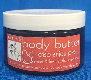 Body Butter made with Goats Milk - Crisp Anjou Pear - made by Tree Frog Farms