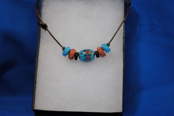Necklace with Turquoise & Coral handmade glass beads on leather - Joy Beadz Glass Jewelry