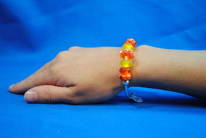 Joy Beadz Bracelet In Orange & Yellow