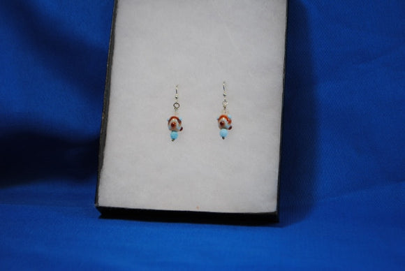Sterling Silver Earrings with Light Blue & Red Designs on Handmade glass beads - Joy Beadz Glass Jewelry