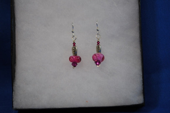 Sterling Silver Earrings with handmade glass beads in Fuscia - Joy Beadz Glass Jewelry