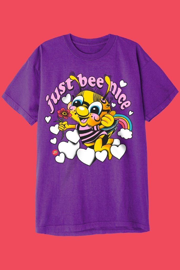 JUST BEE NICE T-Shirts DTG Small PURPLE