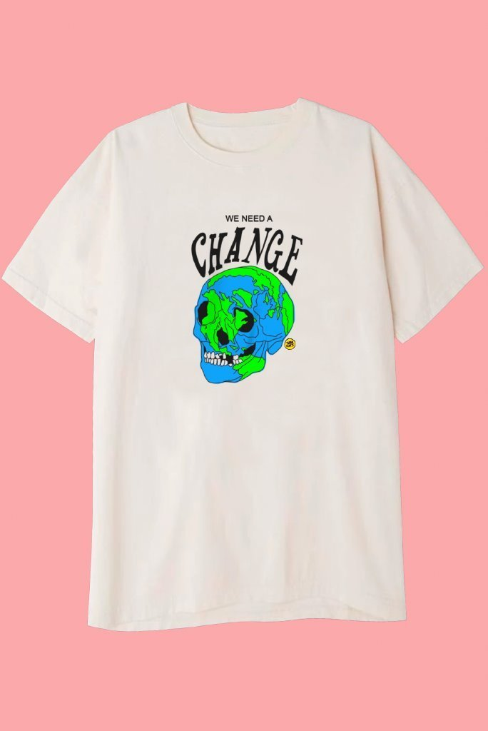 WE NEED A CHANGE T-Shirts DTG Small CREAM
