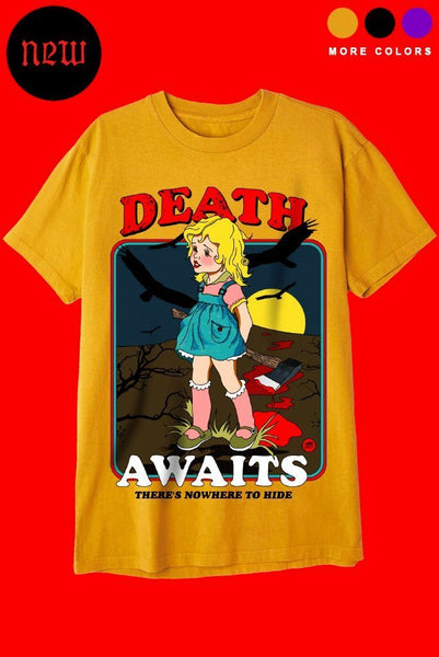 DEATH AWAITS T-Shirts DTG Small GOLD