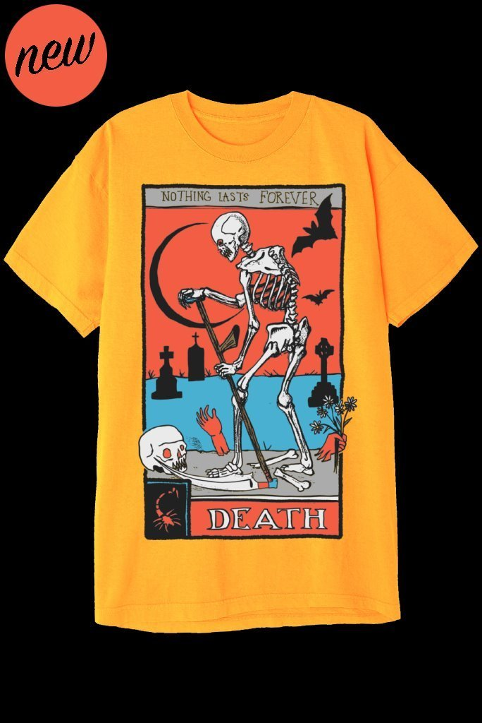 DEATH TAROT CARD T-Shirts DTG Small GOLD