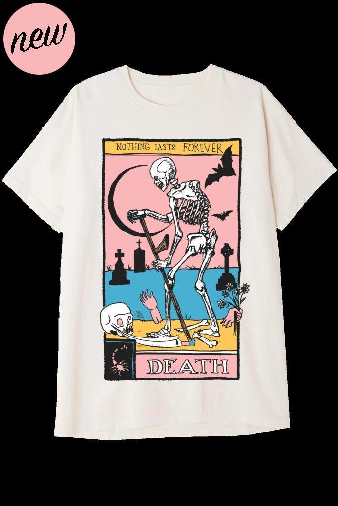 DEATH TAROT CARD T-Shirts DTG Small CREAM