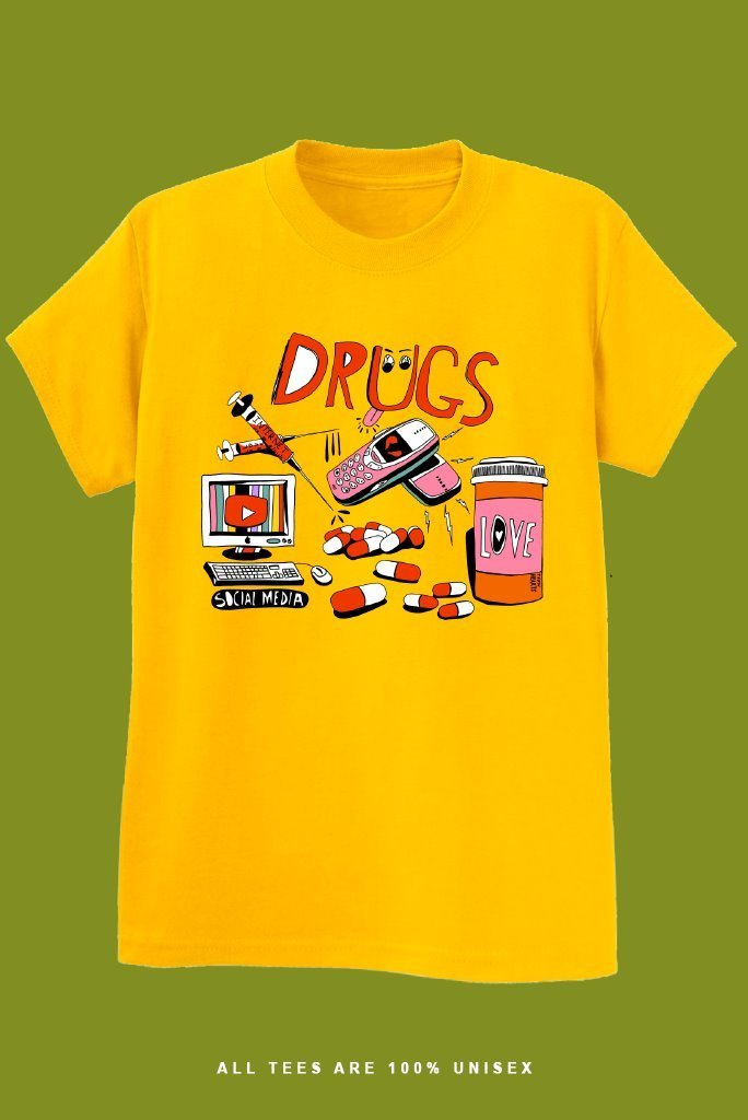 DRUGS T-Shirts DTG Small GOLD