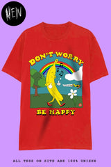 DON'T WORRY BE HAPPY T-Shirts DTG Small red