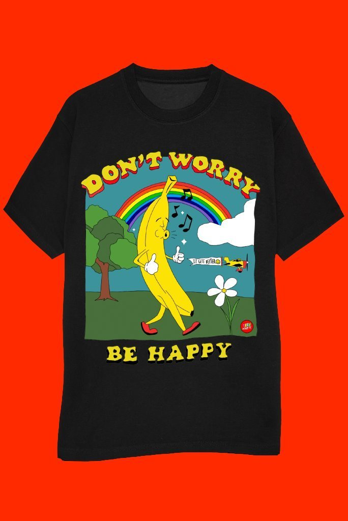 DON'T WORRY BE HAPPY T-Shirts DTG Small black