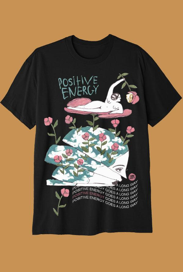 POSITIVE ENERGY T-Shirts DTG Small Black