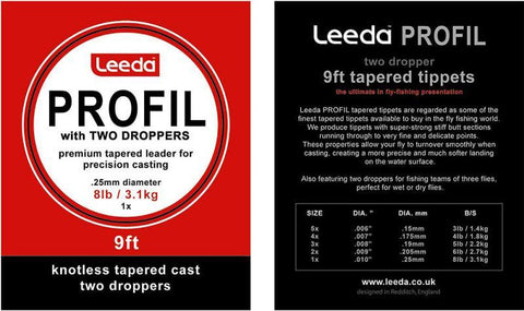 Leeda Profil Tapered Leader with 2 Droppers