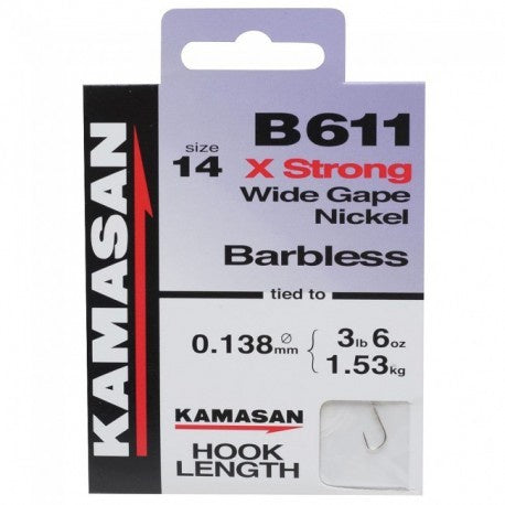 Kamasan B611 - X Strong Wide Gape Nickel Hooks to Nylon Barbless