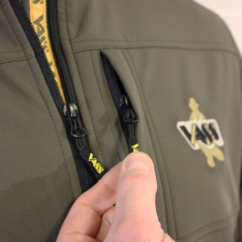 Vass Casualwear Softshell Jacket Khaki Green Zips