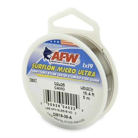 AFW Surflon Micro Ultra Nylon Coated 1x19 Stainless Leader