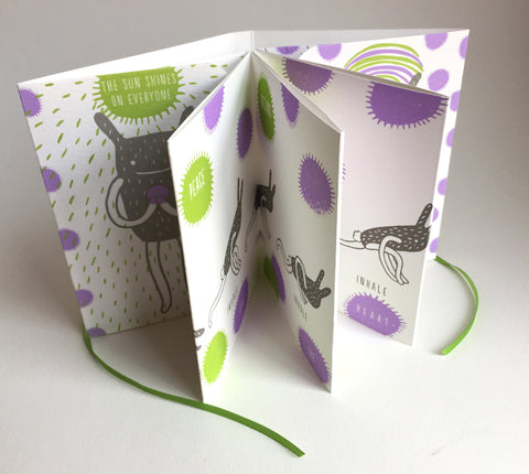 "Handmade Accordion Fold Book ""Sun Salutation Bunny"""