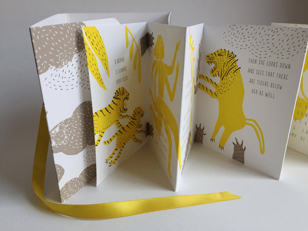 "Handmade Accordion Fold Book ""Tigers Above, Tigers Below, An Ancient Sanskrit Parable"""