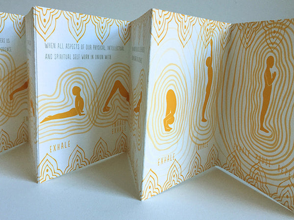 "Handmade Accordion Fold Book ""Sun Salutation"" Gold Neutral"