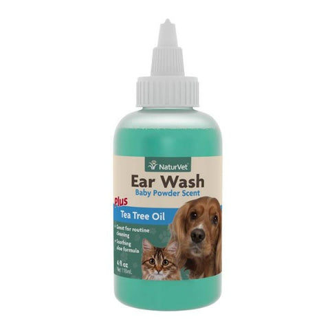 NaturVet Ear Wash With Tea Tree Oil for Cats & Dogs - Baby Powder Scent (4 fl.oz)
