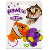 Pawise Bouncing Ball Cat Toy; available in 2 styles-Toys-Pawise-Fish 2pk-Petland Canada