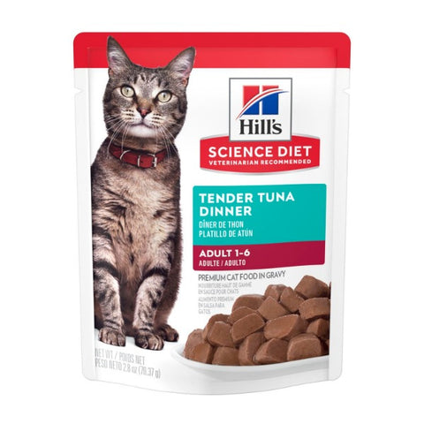 Science Diet Adult Tender Tuna Dinner Premium Cat Food in Gravy Pouch (2.8 oz.)
