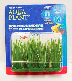 Penn Plax Foreground Plastic Plant; available in different styles-Decor-Penn Plax Aqua Plant-6pk Hairbrass Plastic Aqplants-Petland Canada