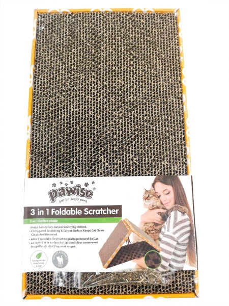 Pawise Cardboard Cat Scratchers; Available in Different Styles-Furniture & Scratchers-Pawise-3 in 1 Foldable-Petland Canada