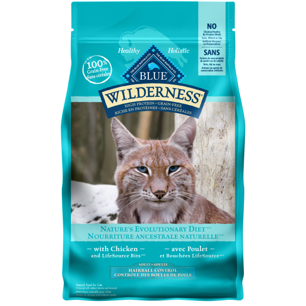 Blue Wilderness Adult Cat GF Hairball Control Chicken; Available in 2 sizes-Food Center-Blue Buffalo Co.-Petland Canada