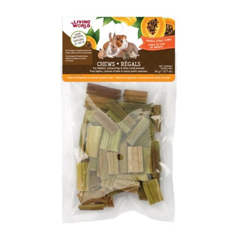 Living World Papaya Stalk Cubes Small Animal Chews-20g