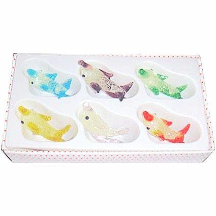 Fluorescent Glass Animals Dolphin 6pk