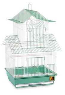 Prevue Shanghai Parakeet Cage Green and White 16 inch Long x 14 inch Wide x 32 inch High-Cages & Stands-Prevue Hendryx-Petland Canada