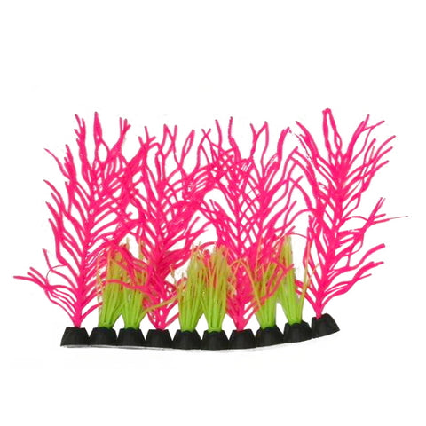 AquaLand Glow Foreground Pink Grass Silicone Aquarium Plant
