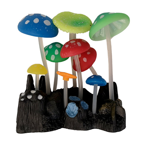 AquaLand Glow Mushroom Silicone Aquarium Ornament-Decor-AquaLand-Petland Canada