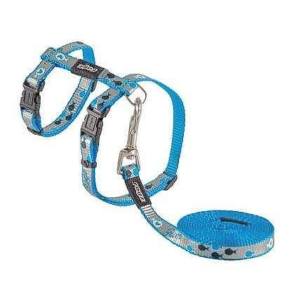 Rogz Reflective Cat Harness and Lead; Available in 3 colours-Collars & Leashes-Rogz-Blue Fish-Petland Canada