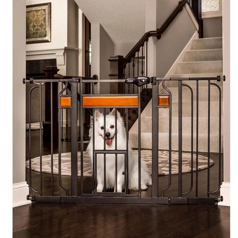 "Design Paw Extra Wide Walk-Thru Gate with Small Pet Door (30.5"" H x 29-44"" W)-Gates & Doors-vendor-unknown-Petland Canada"