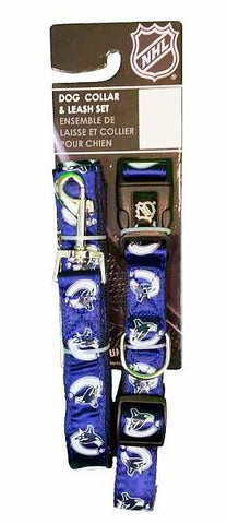 NHL Vancouver Canucks Adjustable Collar and Leash Set-Collars & Leashes-Silver Paw-1/2in Adj Collar And 5ftx1/2in Leash Set-Petland Canada