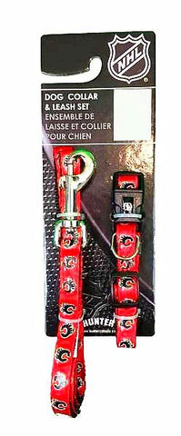 NHL Calgary Flames Adjustable Collar & Leash Set-Collars & Leashes-Silver Paw-Petland Canada