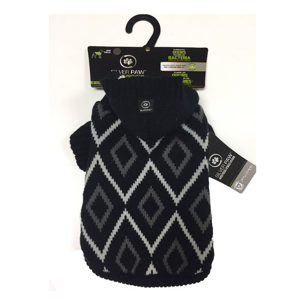 Silver Paw Hooded Sweater with Chevron Pattern-Clothes & Boots-Silver Paw-Black-XSmall-Petland Canada