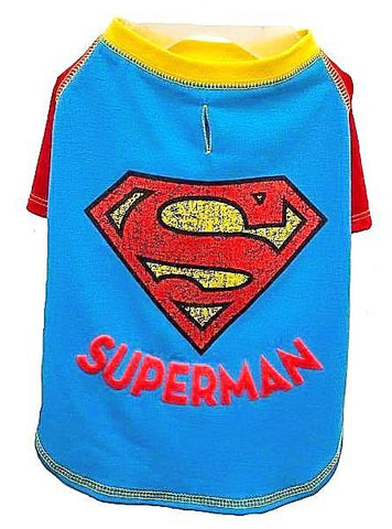 DC Comics Superman T-Shirt for Dogs-Clothes & Boots-Silver Paw-Petland Canada