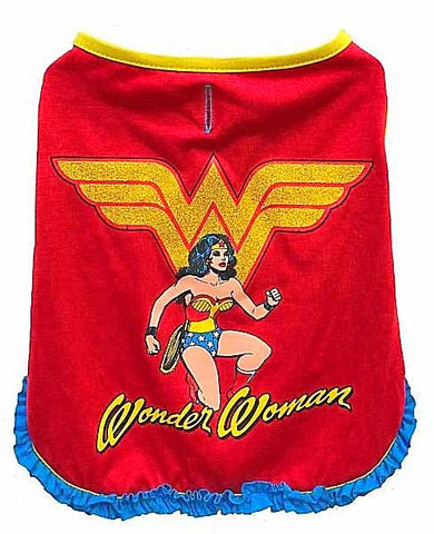 DC Comics Wonderwoman Top with Ruffle for Dogs-Clothes & Boots-Silver Paw-Petland Canada