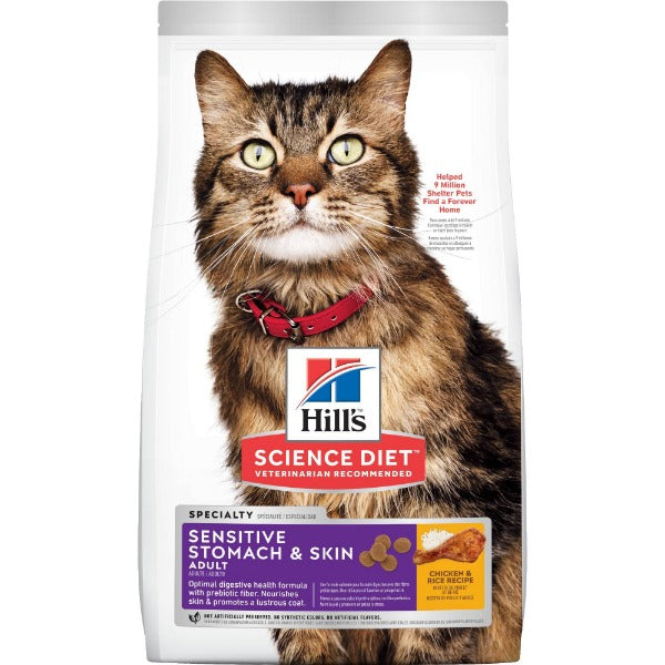 Science Diet Feline Adult Sensitive Stomach & Skin; Available in 3 sizes