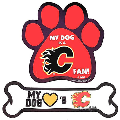 Calgary Flames Magnet; Bone or Paw Shape