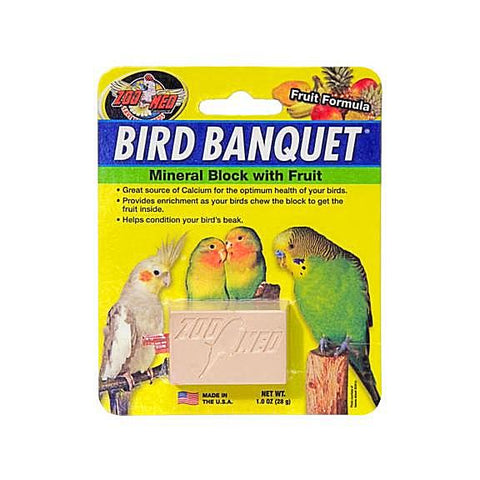Zoo Med Bird Banquet Mineral Fruit Block Small 1.0oz