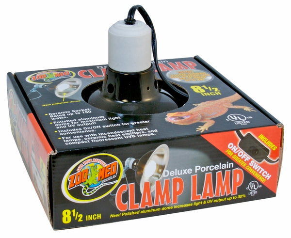 Zoo Med Porcelain Deluxe Clamp Lamp; available in 3 sizes.