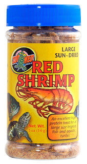 Zoo Med Large Sun-Dried Red Shrimp; available in different sizes.