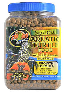 Zoo Med Natural Aquatic Turtle Food growth Formula; available in 3 sizes.