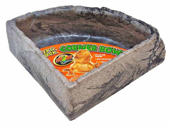 Zoo Med Repti Rock Corner Dish; available in 3 sizes.-Feeding & Watering Accessories-Zoo Med-large-Petland Canada